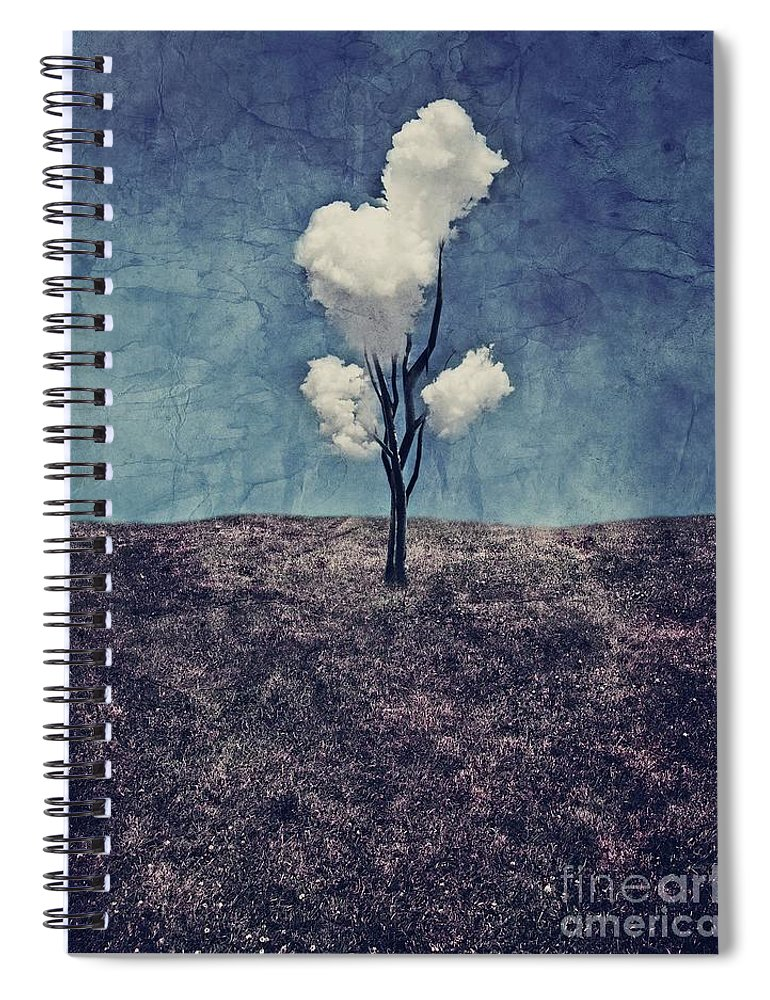 Tree Spiral Notebook featuring the digital art Tree Clouds 01d2 by Aimelle