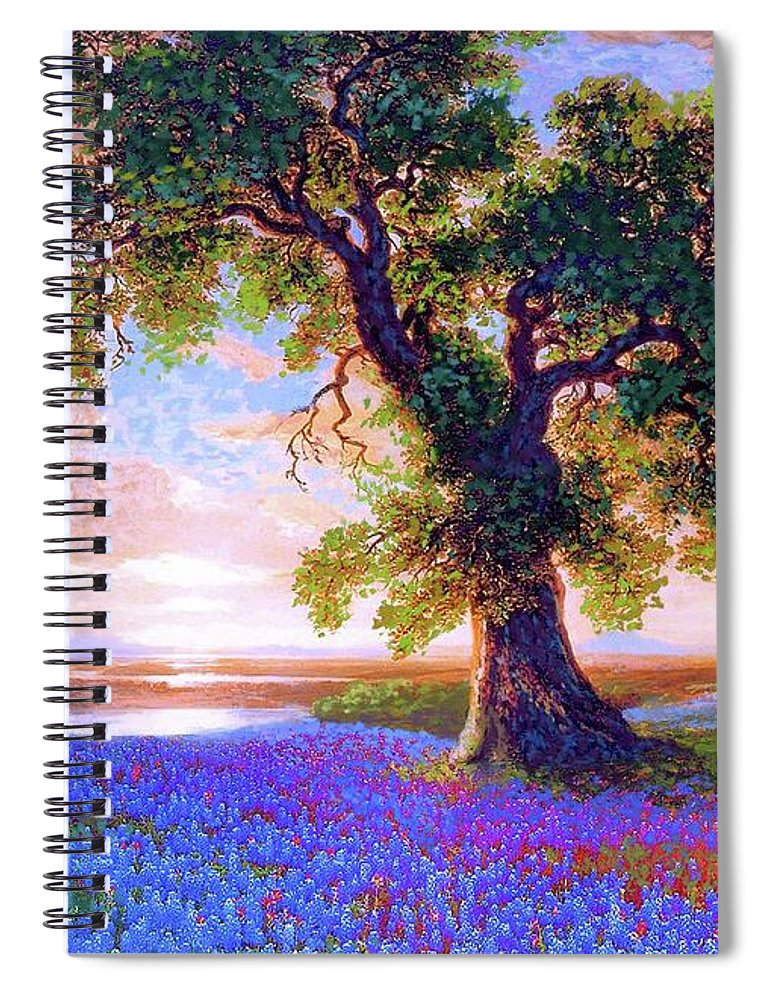 Sun Spiral Notebook featuring the painting Bluebonnets by Jane Small