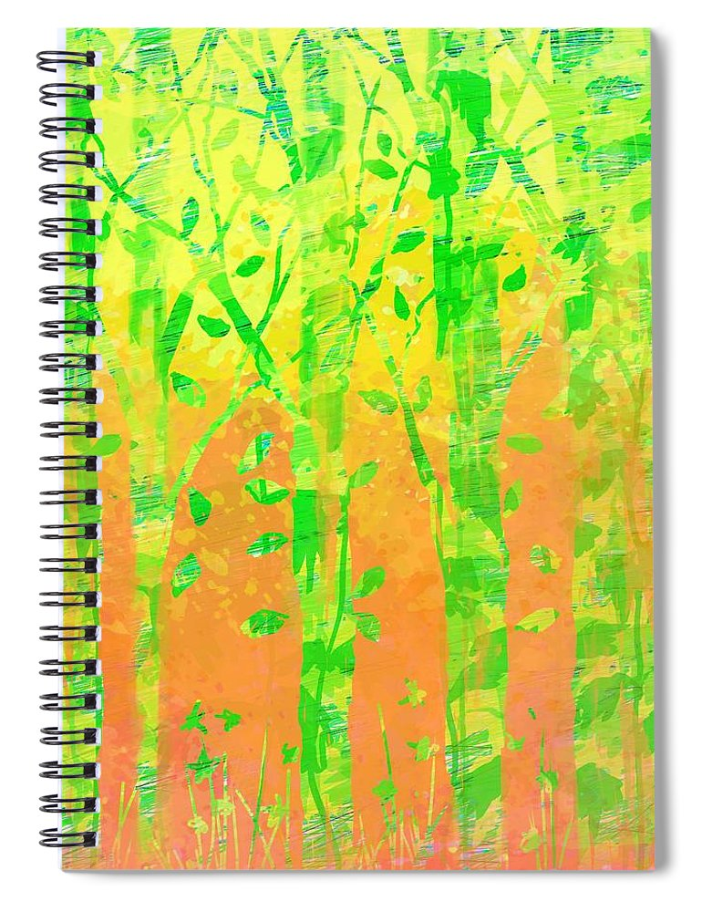 Abstract Spiral Notebook featuring the digital art Trees in the Grass by William Russell Nowicki