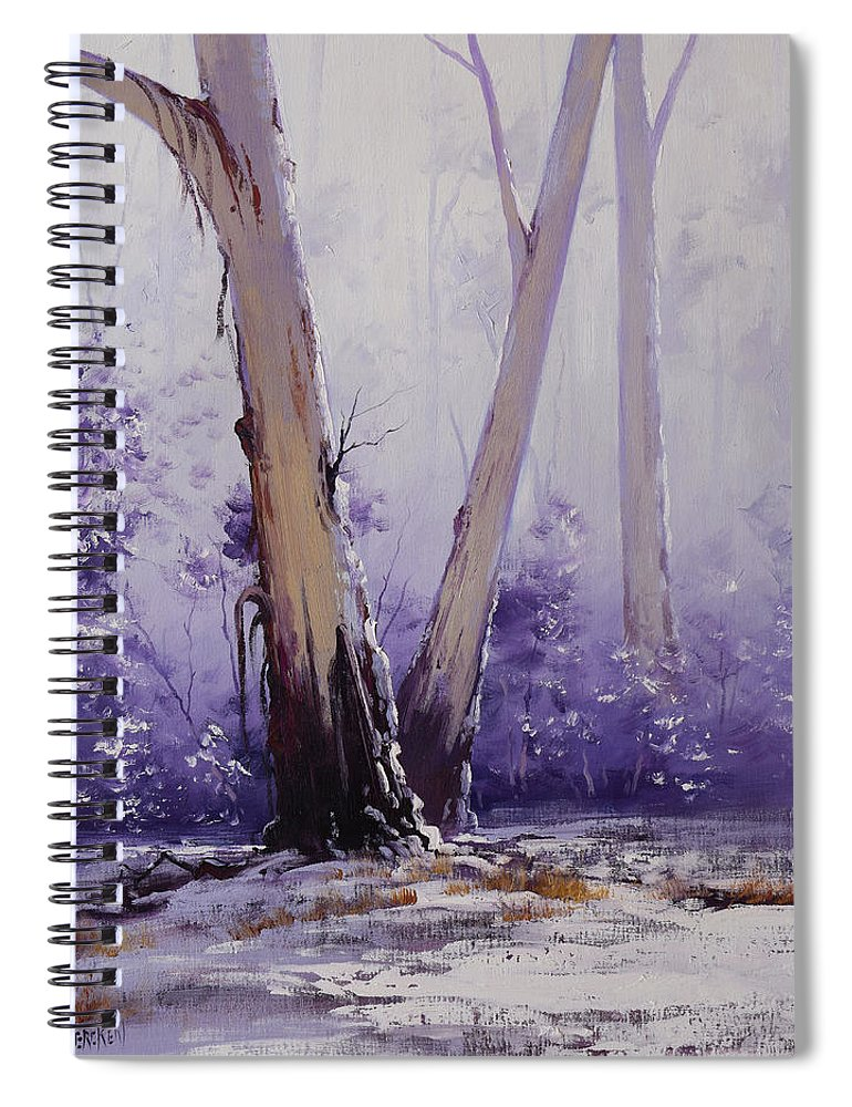 Snow Gums Spiral Notebook featuring the painting trees in winter Australia by Graham Gercken