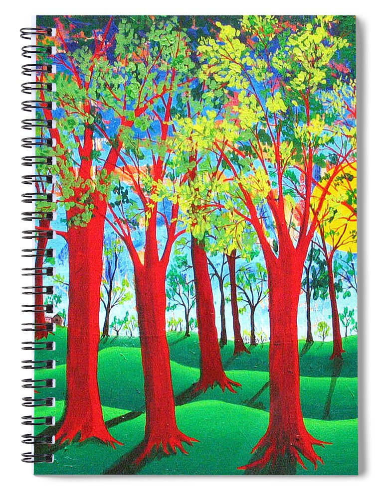 Rollin Kocsis Spiral Notebook featuring the painting Trees of Red by Rollin Kocsis