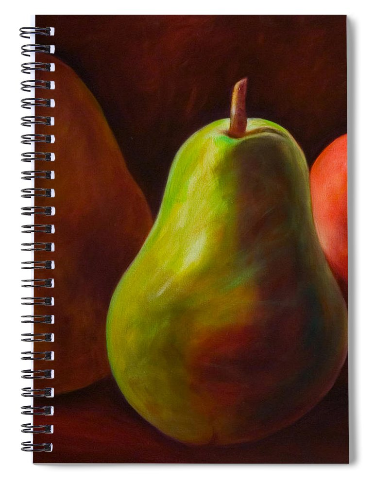 Fruit Spiral Notebook featuring the painting Tri Pear by Shannon Grissom