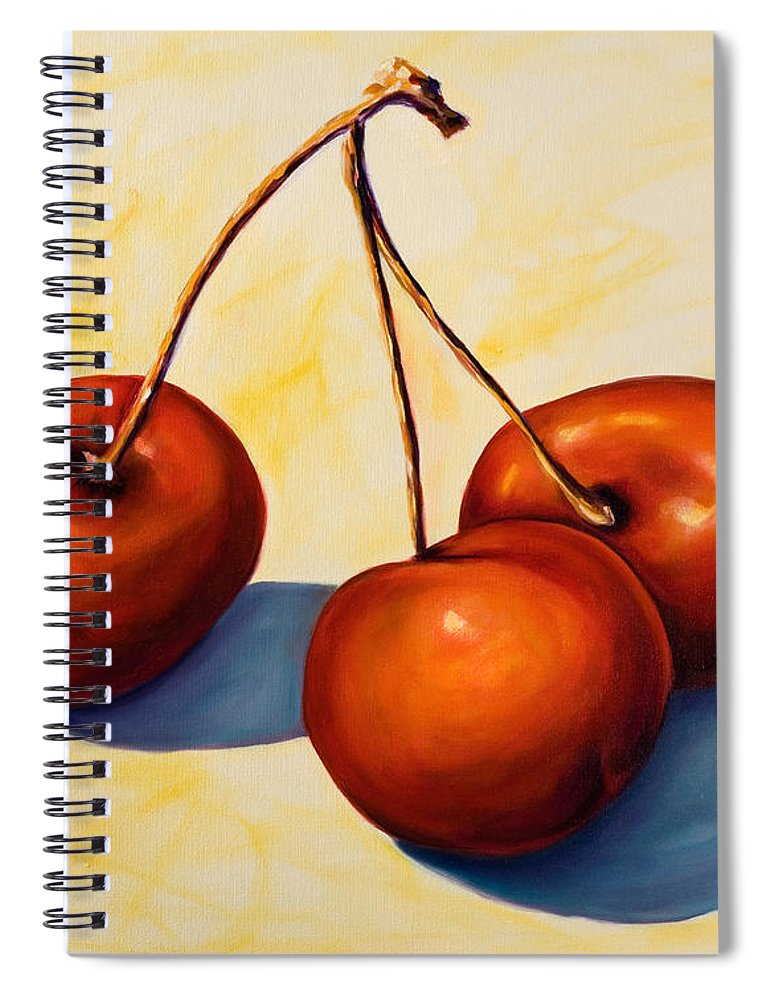 Cherries Spiral Notebook featuring the painting Trilogy by Shannon Grissom