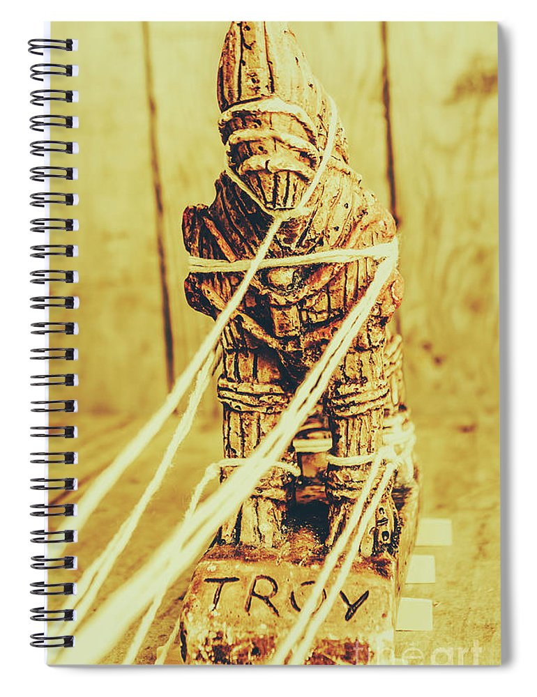Trojan Spiral Notebook featuring the photograph Trojan Horse Wooden Toy Being Pulled By Ropes by Jorgo Photography - Wall Art Gallery