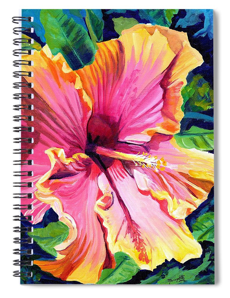 Hibiscus Spiral Notebook featuring the painting Tropical Bliss Hibiscus by Marionette Taboniar