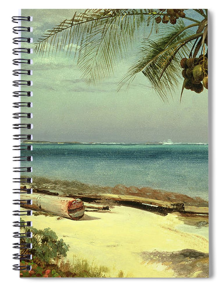 Shore; Exotic; Palm Tree; Coconut; Sand; Beach; Sailing Spiral Notebook featuring the painting Tropical Coast by Albert Bierstadt