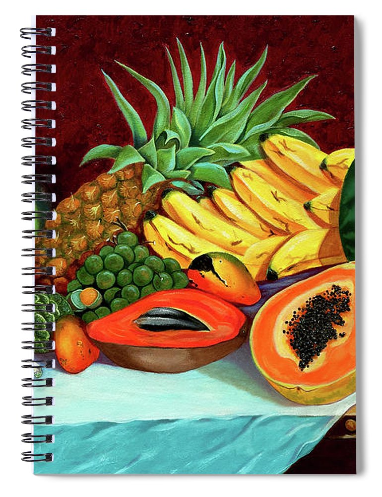 Coconut Spiral Notebook featuring the painting Tropical Fruits by Jose Manuel Abraham