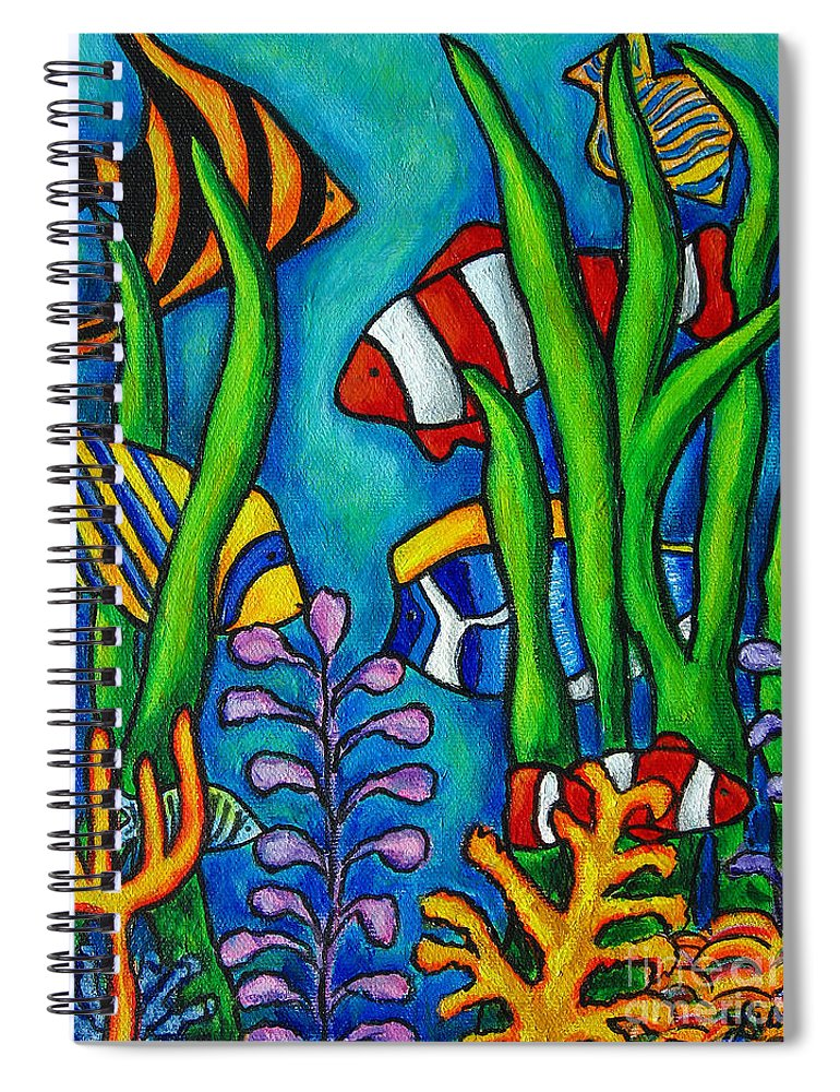 Tropical Spiral Notebook featuring the painting Tropical Gems by Lisa Lorenz