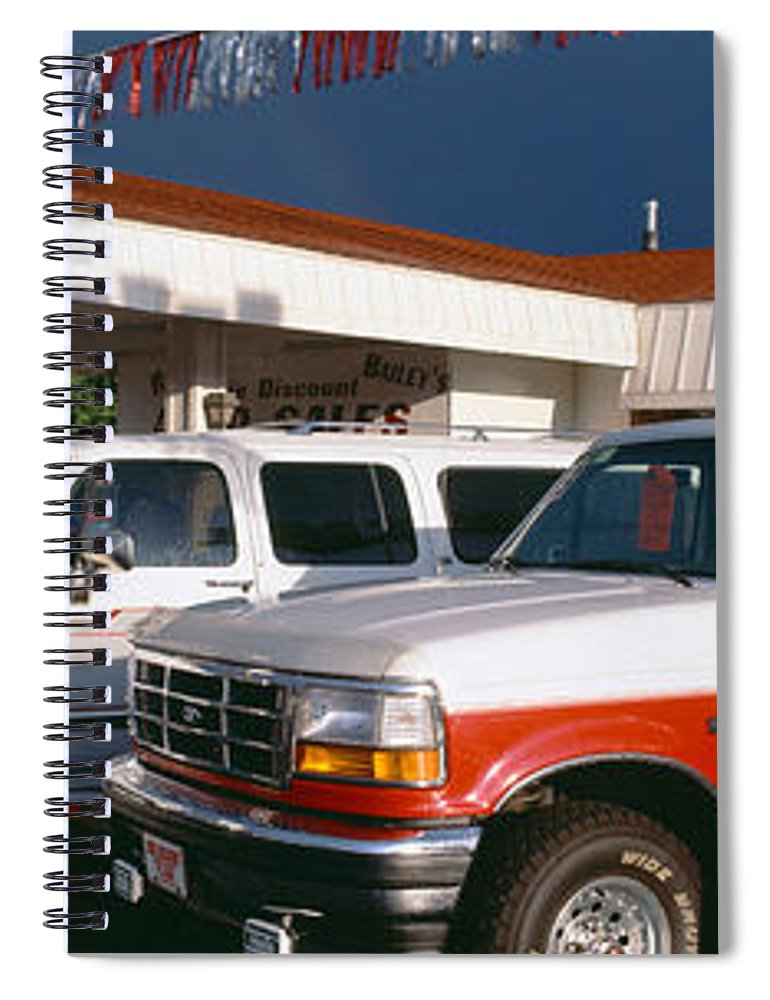 Photography Spiral Notebook featuring the photograph Trucks In Used Car Lot, St. George, Utah by Panoramic Images