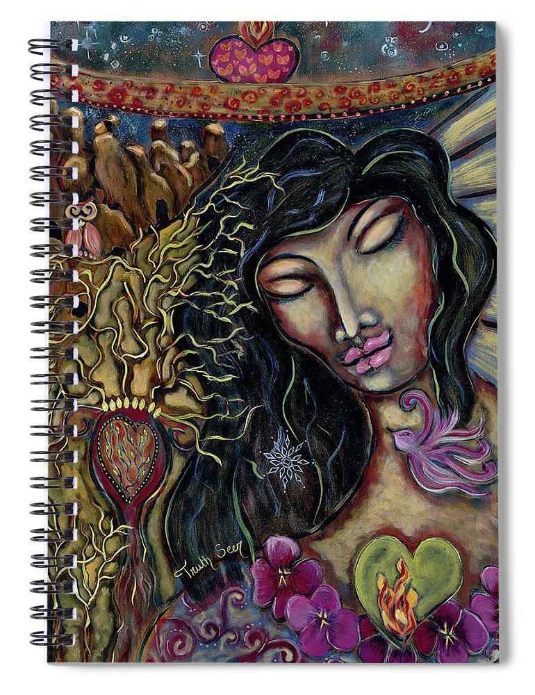 Intentional Creativity Spiral Notebook featuring the painting Truth Seer by Evelyne Verret