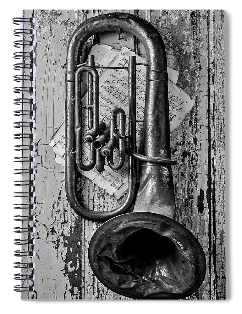Tuba Spiral Notebook featuring the photograph Tuba And Music On Door In Black And White by Garry Gay