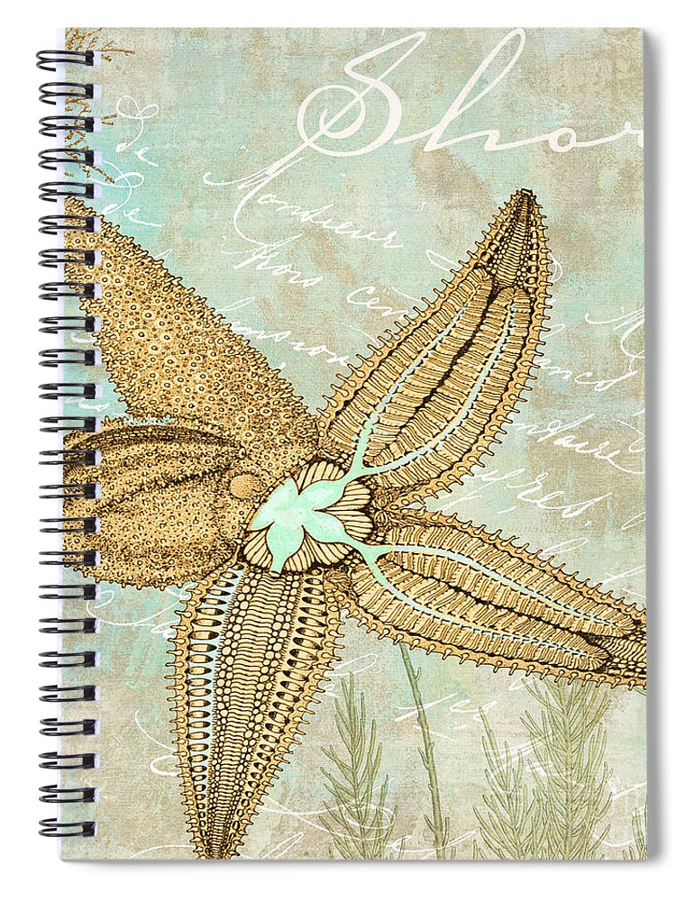 Nautilus Spiral Notebook featuring the painting Turquoise Sea Starfish by Mindy Sommers
