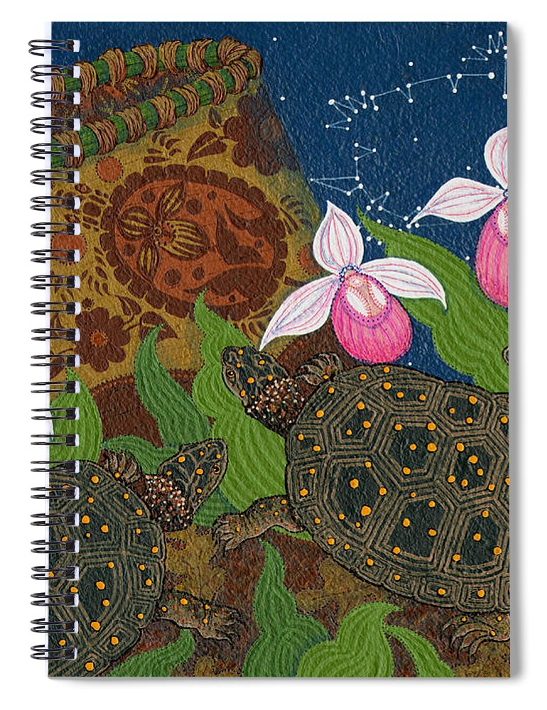 American Indian Paintings Spiral Notebook featuring the painting Turtle - Mihkinahk by Chholing Taha