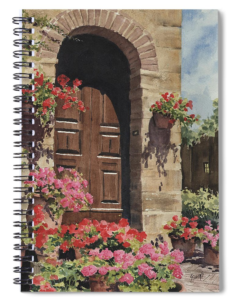 Flowers Spiral Notebook featuring the painting Tuscan Door by Sam Sidders
