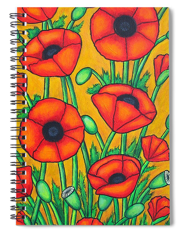 Colourful Spiral Notebook featuring the painting Tuscan Poppies by Lisa Lorenz