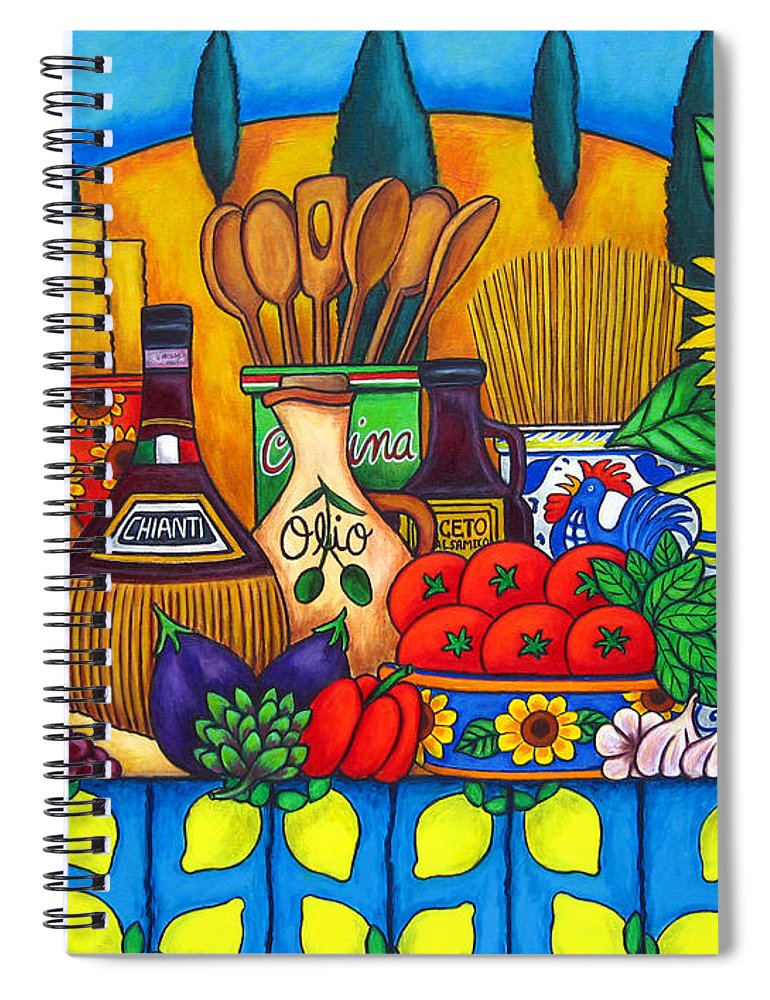 Italy Spiral Notebook featuring the painting Tuscany Delights,Italy by Lisa Lorenz