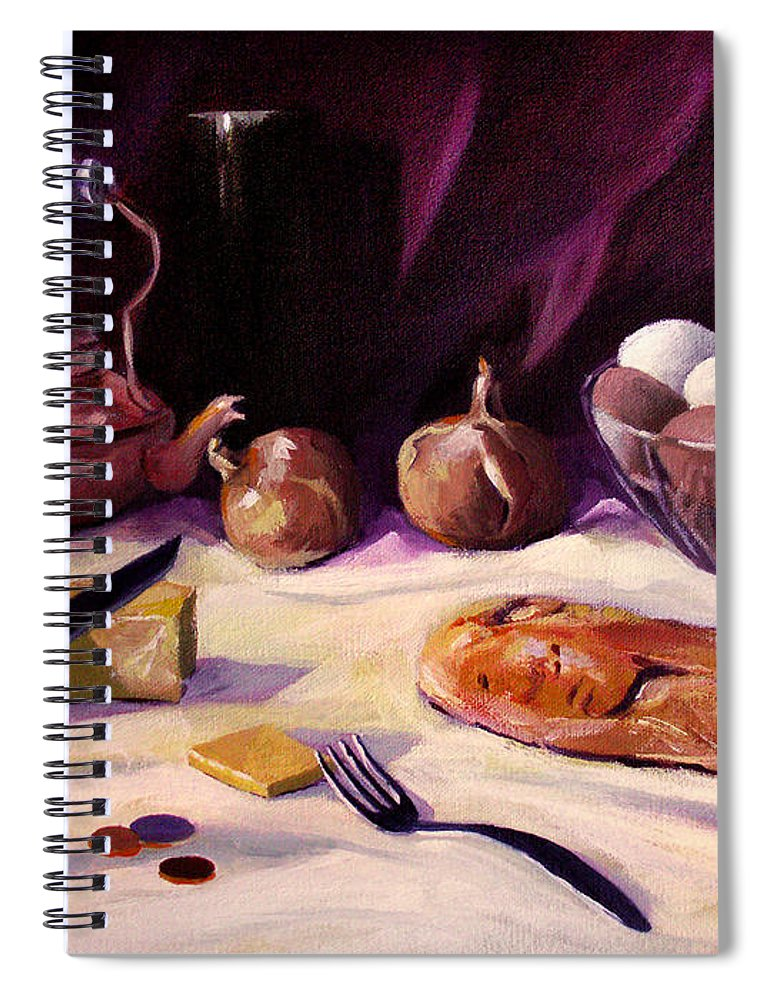 Realistic Spiral Notebook featuring the painting Twenty Seven Cents And Bread by Nancy Griswold