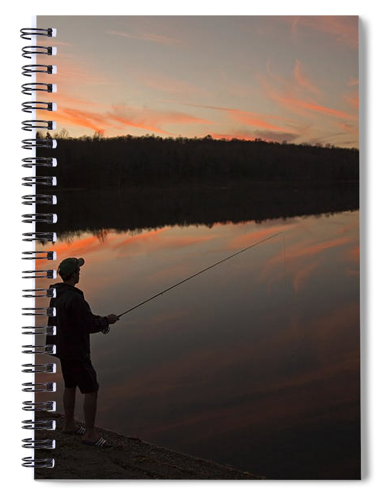 Twilight Spiral Notebook featuring the photograph Twilight Fishing Delight by John Stephens