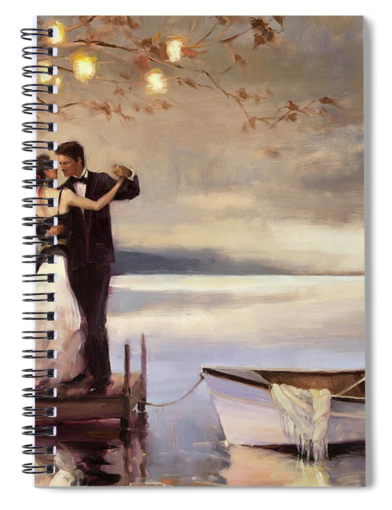 Romantic Spiral Notebook featuring the painting Twilight Romance by Steve Henderson
