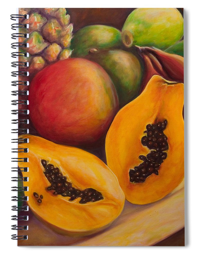 Papaya Spiral Notebook featuring the painting Twins by Shannon Grissom