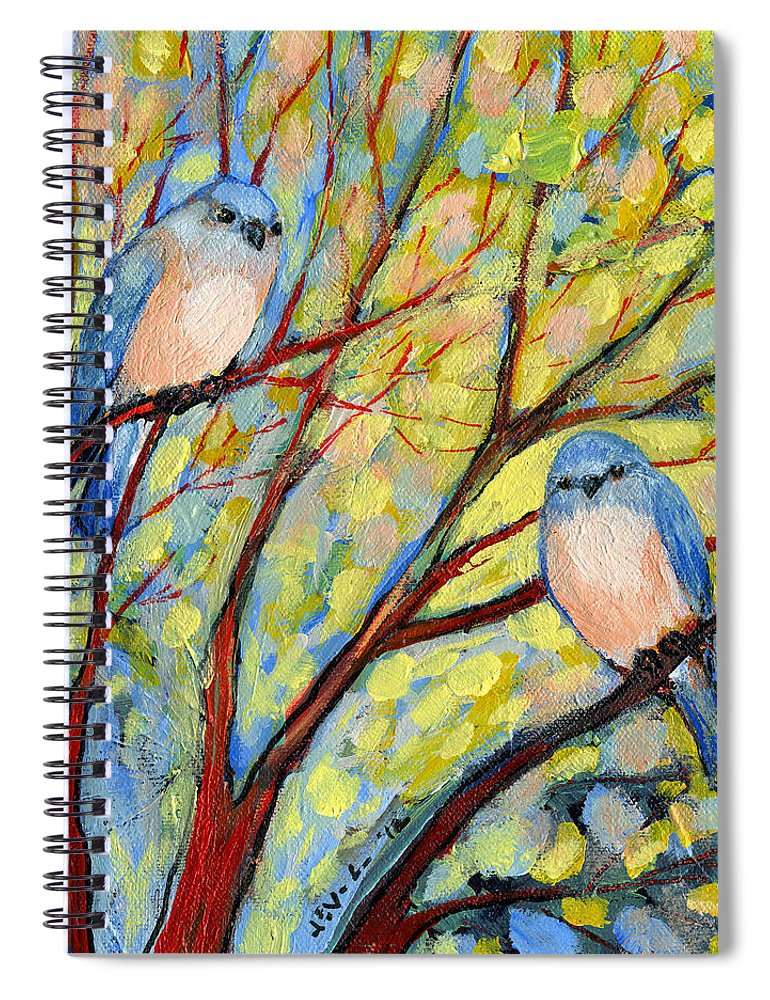 Bird Spiral Notebook featuring the painting Two Bluebirds by Jennifer Lommers