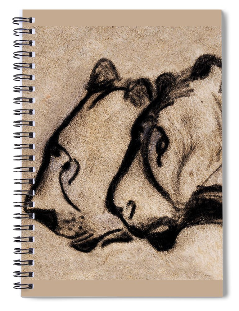 Chauvet Cave Lions Spiral Notebook featuring the painting Two Chauvet Cave Lions - Clear Version by Weston Westmoreland