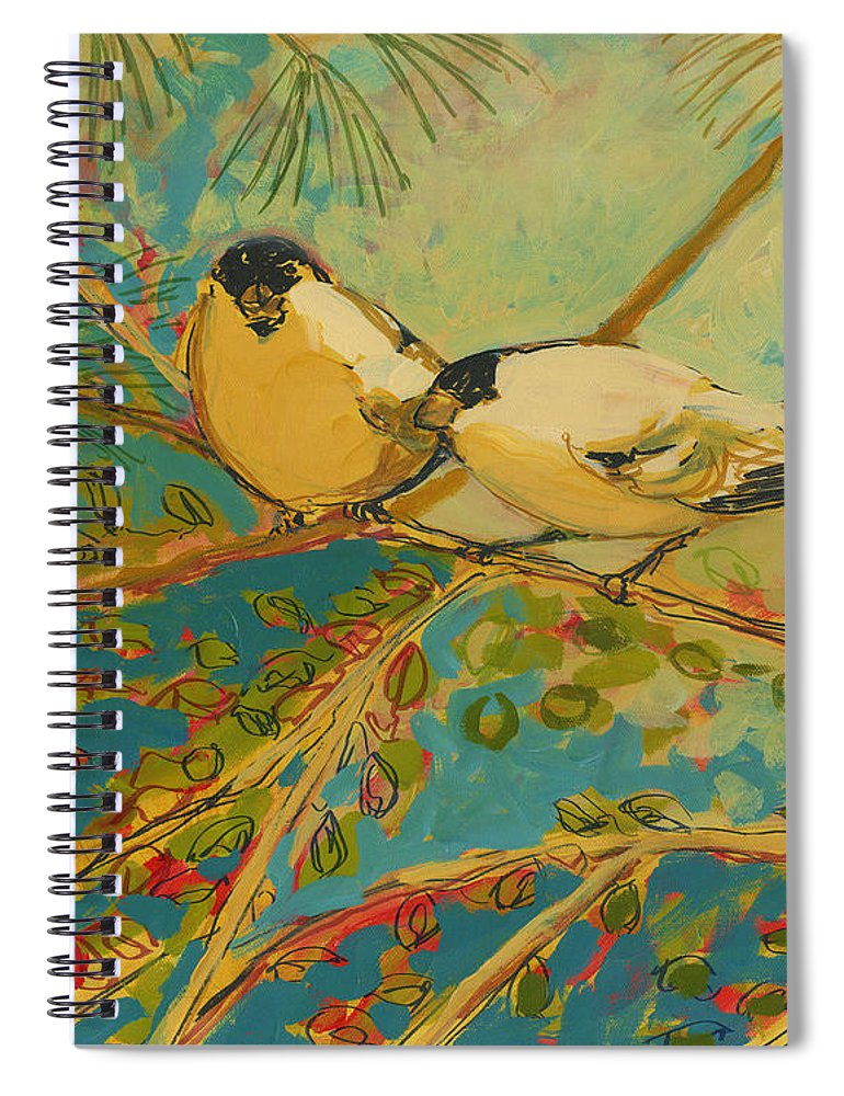 Bird Spiral Notebook featuring the painting Two Goldfinch Found by Jennifer Lommers