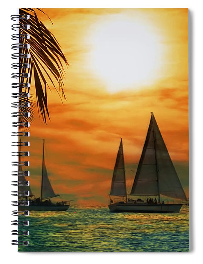 Sail Spiral Notebook featuring the photograph Two Ships Passing In The Night by Bill Cannon