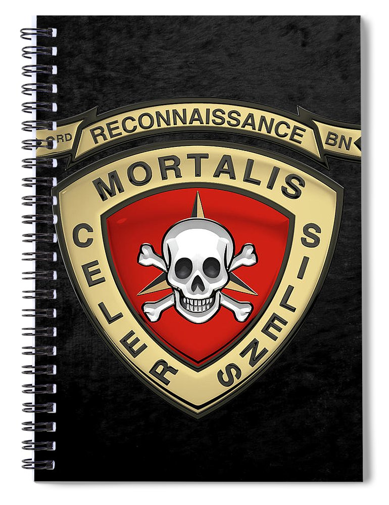 'military Insignia & Heraldry' Collection By Serge Averbukh Spiral Notebook featuring the digital art U S M C 3rd Reconnaissance Battalion - 3rd Recon Bn Insignia Over Black Velvet by Serge Averbukh