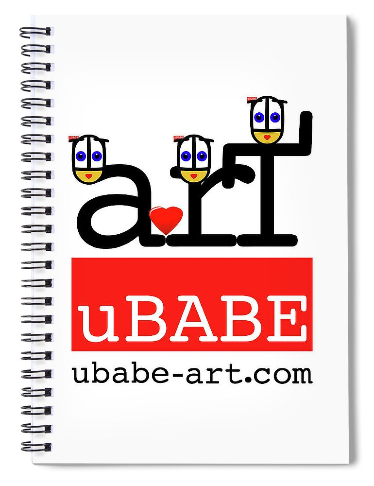 Ubabe Spiral Notebook featuring the digital art uBABE Art Wave by Charles Stuart