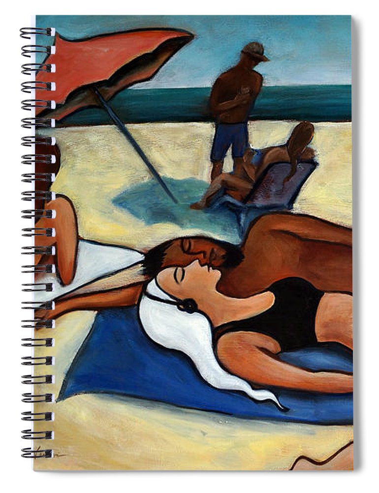 Beach Scene Spiral Notebook featuring the painting Un Journee a la plage by Valerie Vescovi
