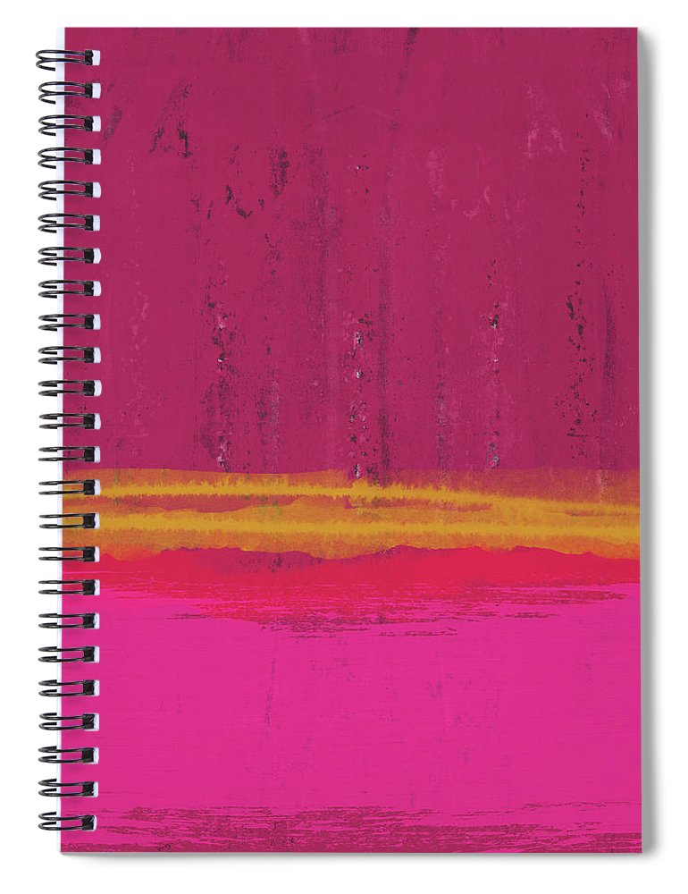 Abstract Spiral Notebook featuring the mixed media Undaunted Pink Abstract- Art By Linda Woods by Linda Woods