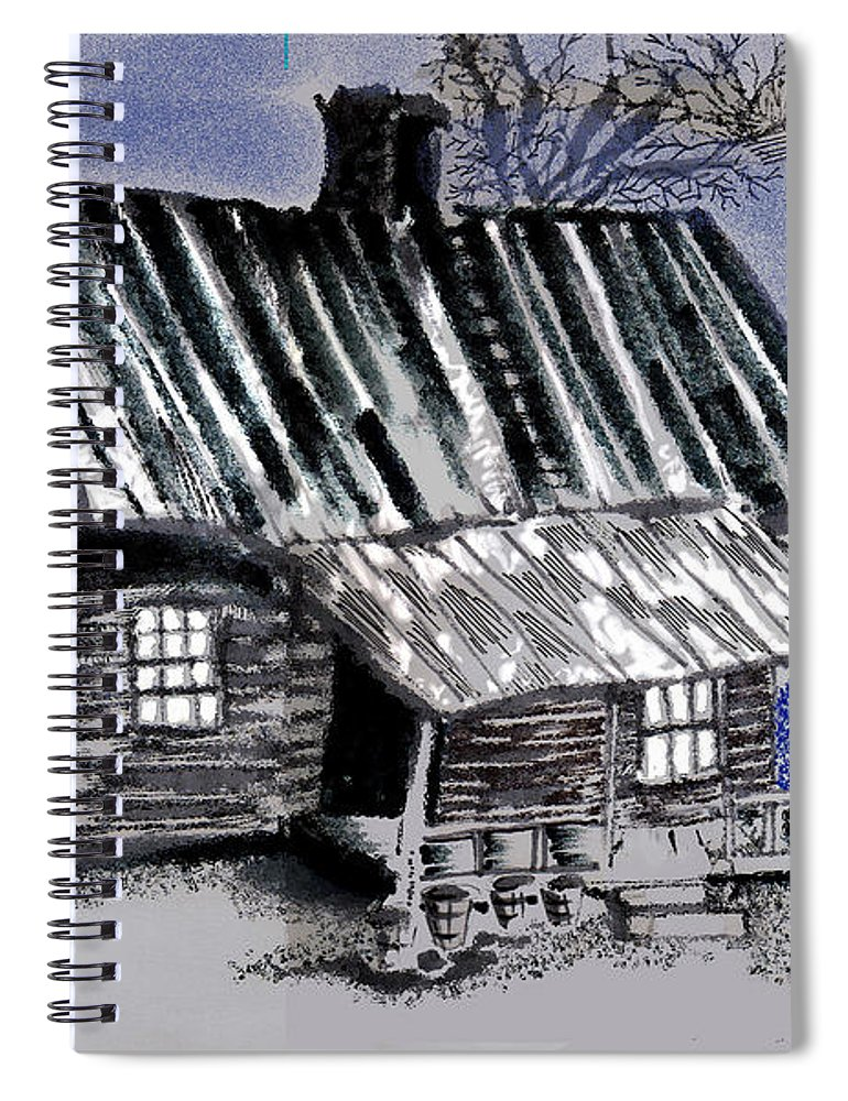 Cabin Spiral Notebook featuring the drawing Under a Tin Roof by Seth Weaver