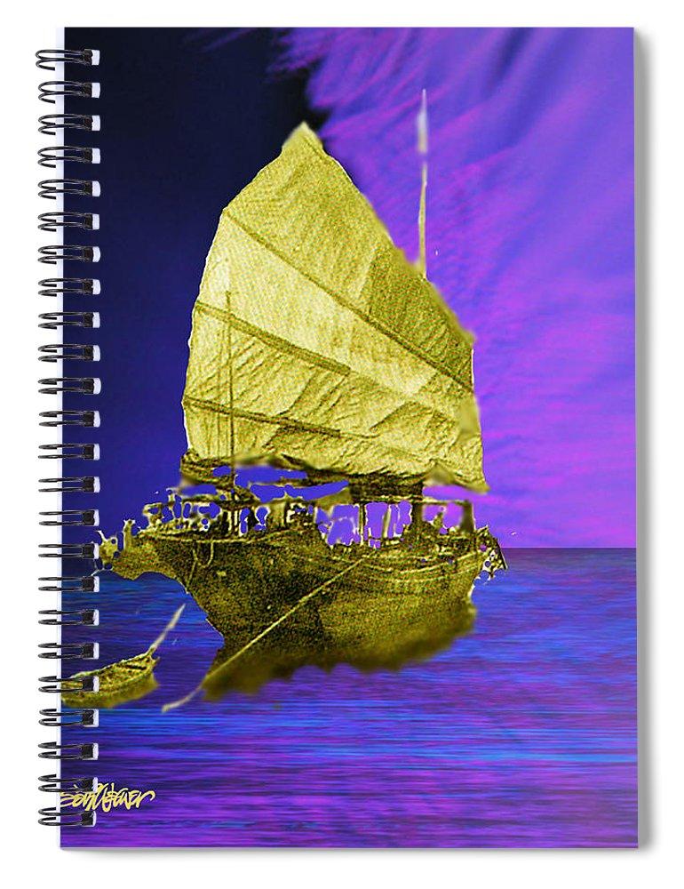 Nautical Spiral Notebook featuring the digital art Under Golden Sails by Seth Weaver