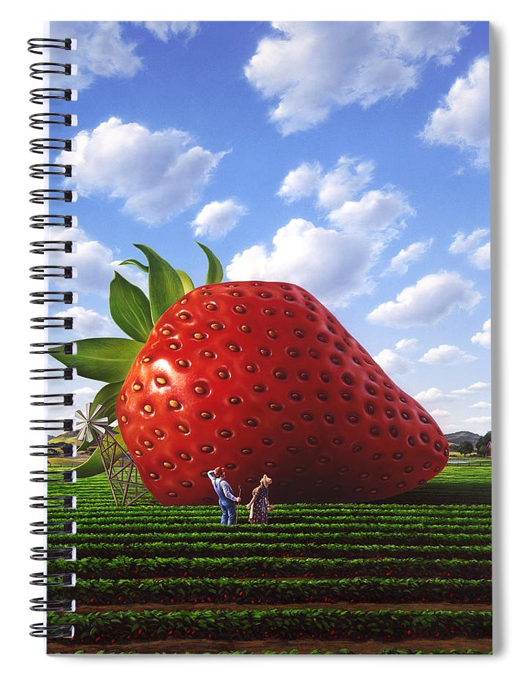 Strawberry Spiral Notebook featuring the painting Unexpected Growth by Jerry LoFaro