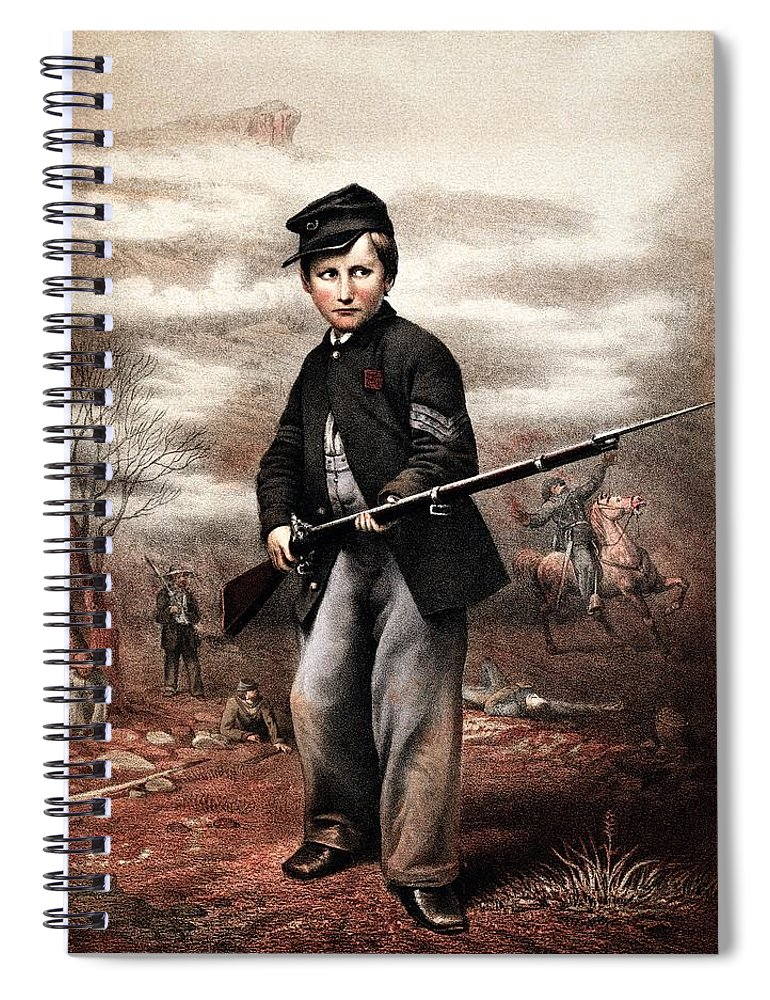 Civil War Spiral Notebook featuring the painting Union Drummer Boy John Clem by War Is Hell Store