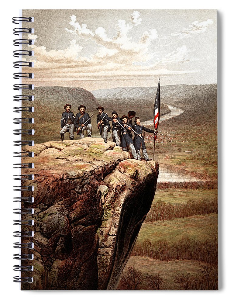 Civil War Spiral Notebook featuring the painting Union Soldiers On Lookout Mountain by War Is Hell Store
