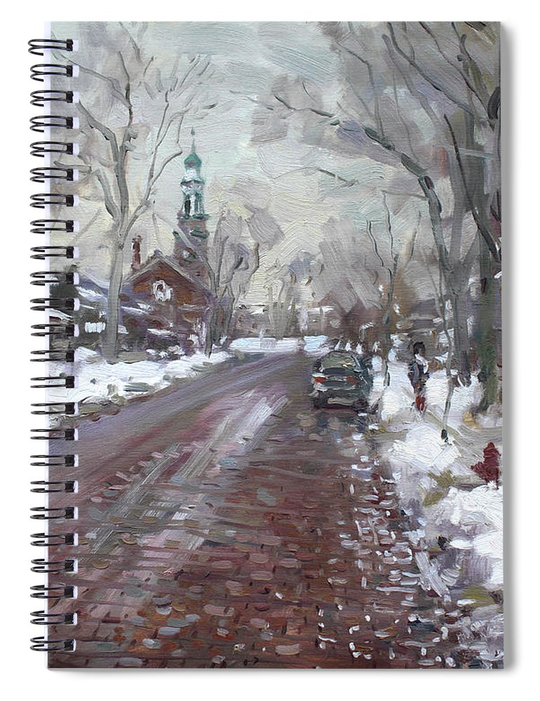 University Spiral Notebook featuring the painting University Presbyterian Church by Ylli Haruni