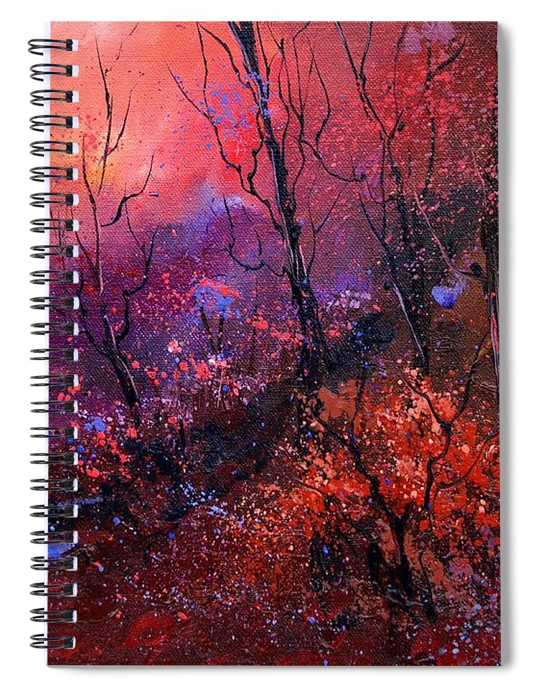 Wood Sunset Tree Spiral Notebook featuring the painting Unset In The Wood by Pol Ledent