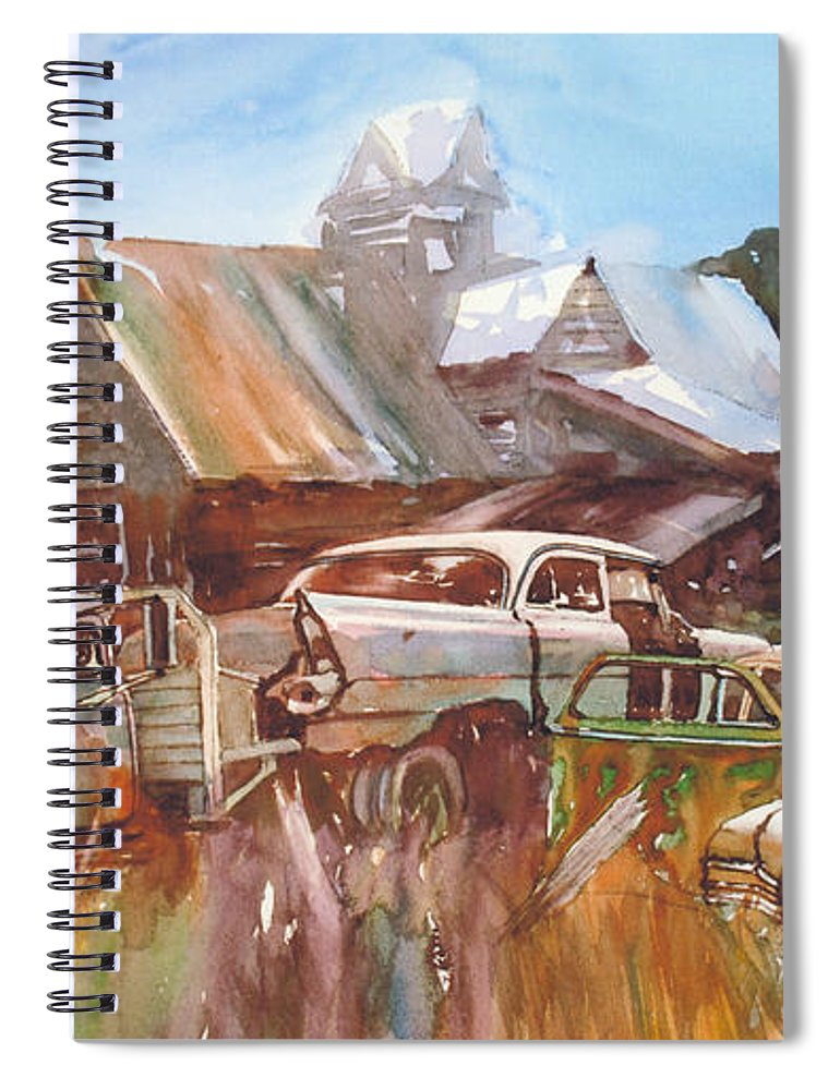 Chev Plymouth House Barn Spiral Notebook featuring the painting Up the Road a Bit by Ron Morrison