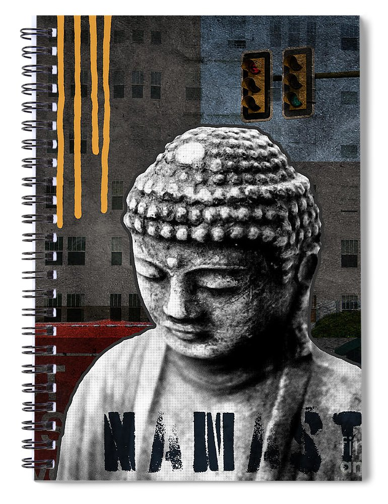 Buddha Spiral Notebook featuring the mixed media Urban Buddha by Linda Woods