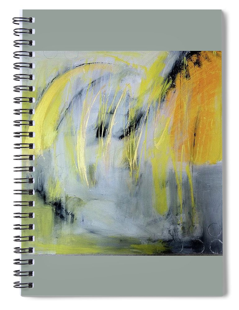 Abstract Yellow Black Gold Contemporary Spiral Notebook featuring the painting Urban Love Song by Patricia Byron