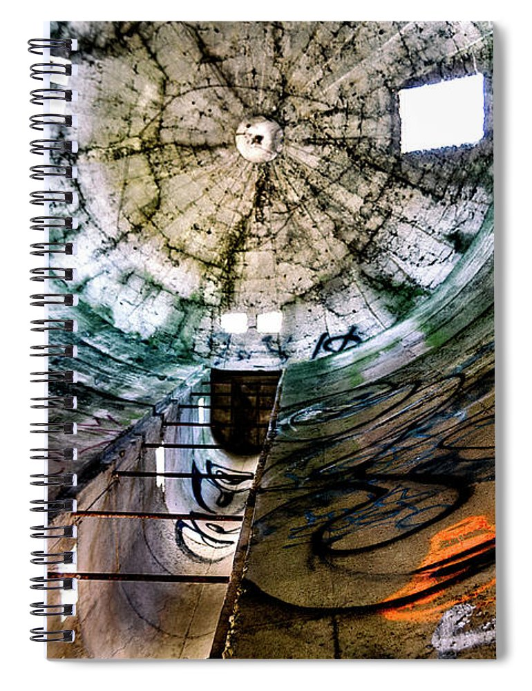 Silo Spiral Notebook featuring the photograph Urban Meets Rural by Grant Dupill