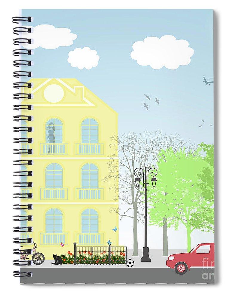 Illustration Spiral Notebook featuring the digital art Urban Scene by Gaspar Avila