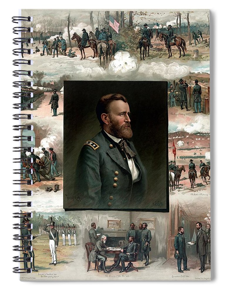 President Grant Spiral Notebook featuring the painting US Grant's Career In Pictures by War Is Hell Store