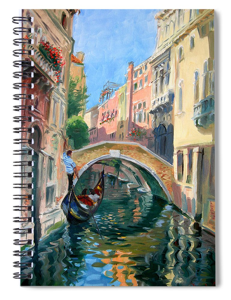 Venice Spiral Notebook featuring the painting Venice Ponte Widmann by Ylli Haruni