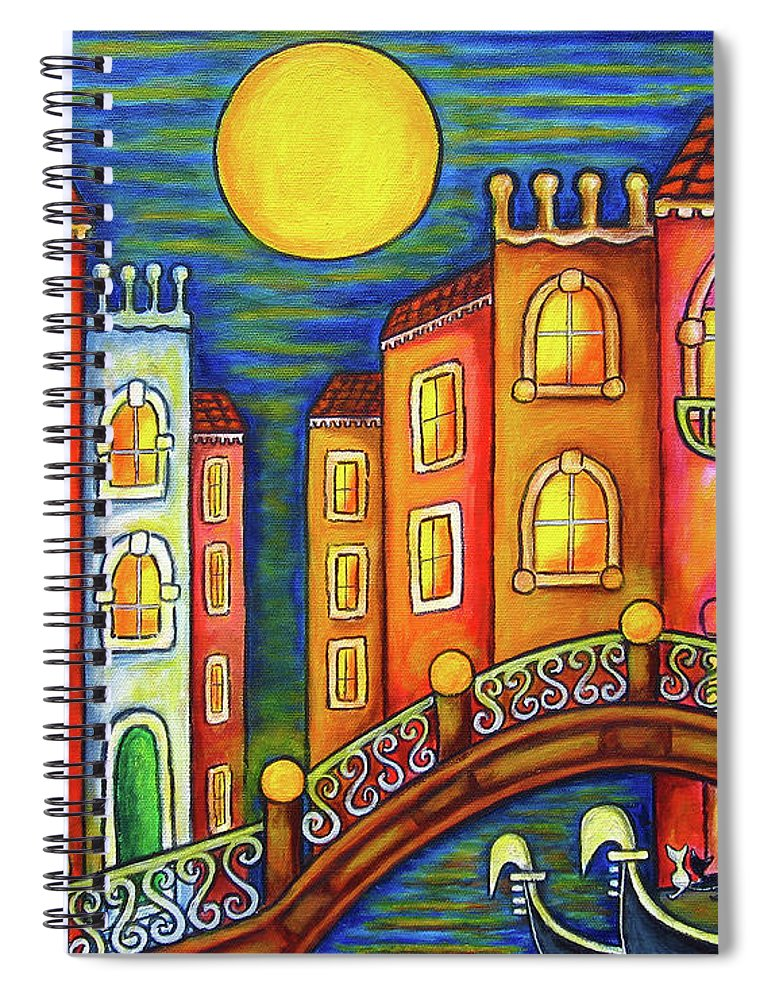 Colourful Spiral Notebook featuring the painting Venice Soiree by Lisa Lorenz