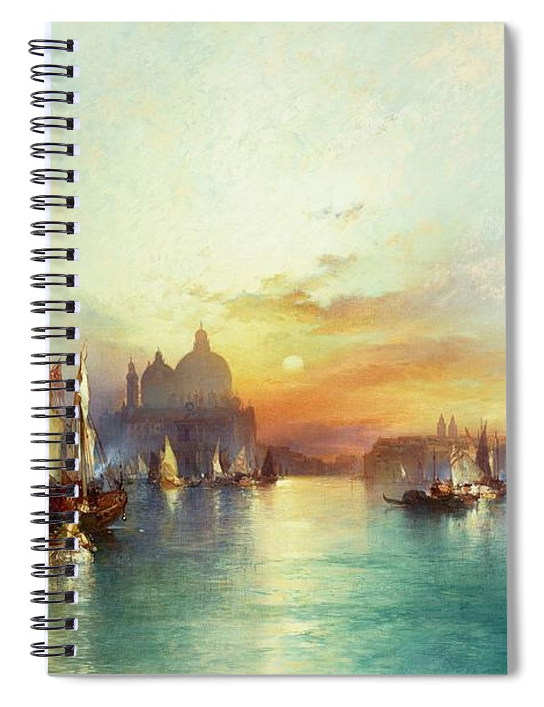 Venetian Scene; Sailing Boats; Architecture; Sunset; Atmospheric; Tranquil; Veneto-byzantine; Hudson River School; Italian; Dusk; Palazzo Ducale; Lagoon; Doge's Palace; Campanile; Thomas Moran Spiral Notebook featuring the painting Venice by Thomas Moran