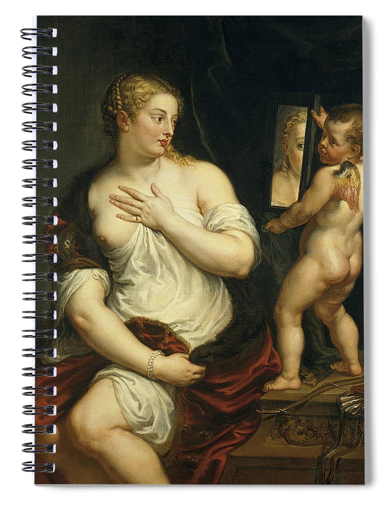 Peter Paul Rubens Spiral Notebook featuring the painting Venus And Cupid by Peter Paul Rubens