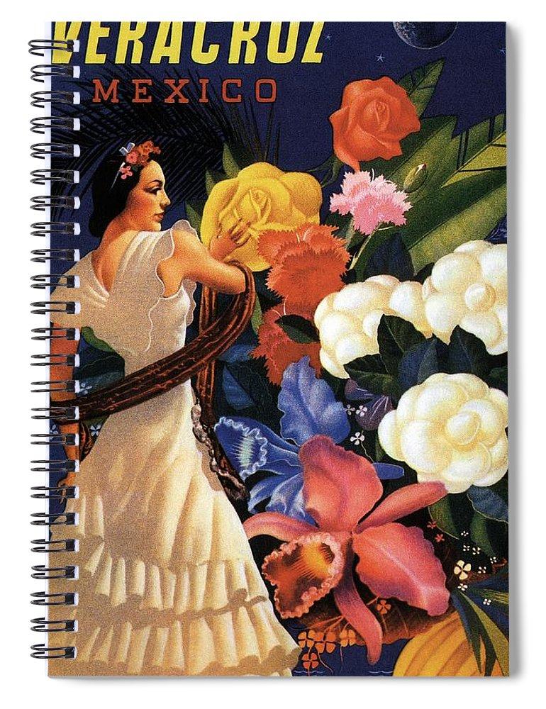 Veracruz Spiral Notebook featuring the mixed media Veracruz, Mexico - Senorita With Flowers Flamenco Dancing - Retro Travel Poster - Vintage Poster by Studio Grafiikka